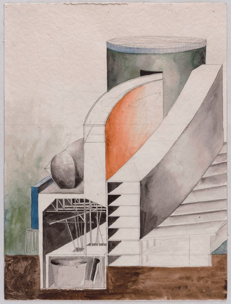 Steven Holl, Bauwettbewerb Amerika-Gedenkbibliothek/Berliner Zentralbibliothek, nicht realisiert, 1. Preisgruppe – Perspektivischer Schnitt, 1988 © Berlinische Galerie, Foto: Anja E. Witte